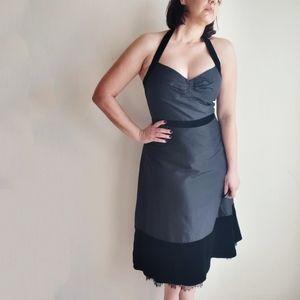 SALE❣BCBGMAXAZRIA Black Velvet Halter Dress